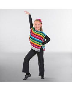 Poncho mexicano multicolor (talla única de niño)