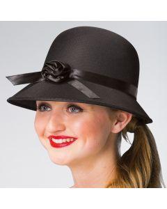 Sombrero cloché negro con flor