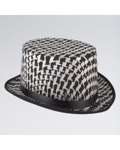 Sombrero de Copa de Cuadros Plata y Negro
