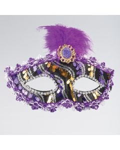 Purple Black & Gold Mask With Tall Feather & Stone