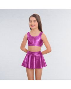 1st Position Metallic Crop Top Magenta