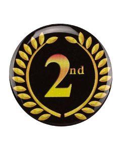 """Placa para trofeos """"2ª posición"""" con corona de laurel"""