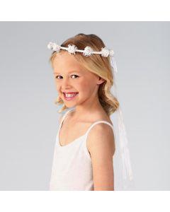 Corona de flores blancas de satén