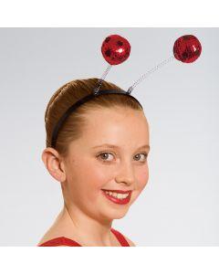 Diadema con antenas de lentejuelas rojas