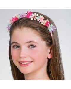 Diadema floral con gemas