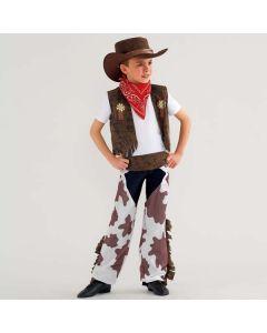 Disfraz de vaquero con estampado de piel de vaca talla niño