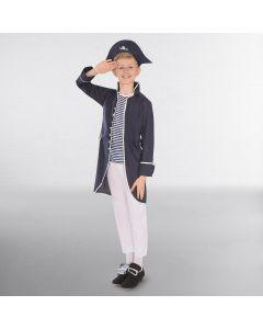 Disfraz de capitán pirata azul marino y blanco (talla niño)