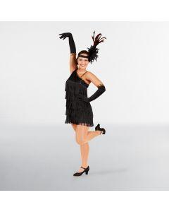 Vestido de charlestón negro con lentejuelas (talla única de adulto)