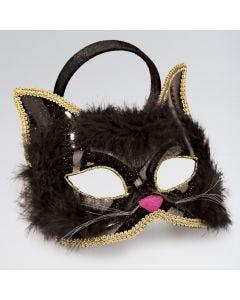 Máscara de gato con marabú y brillantina (negra)