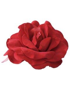 Rosa roja grande (con prendedor incorporado)