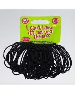 60 Non Metal Thin Black Hair Elastics