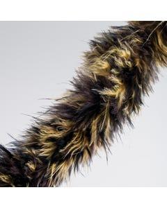 Ribete de marabú imitación pelo de animal negro/marrón (2 metros)