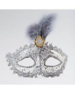Máscara Plateada con Gema y Pluma Central
