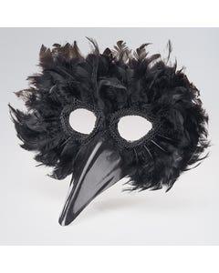 Máscara de pájaro con plumas negras